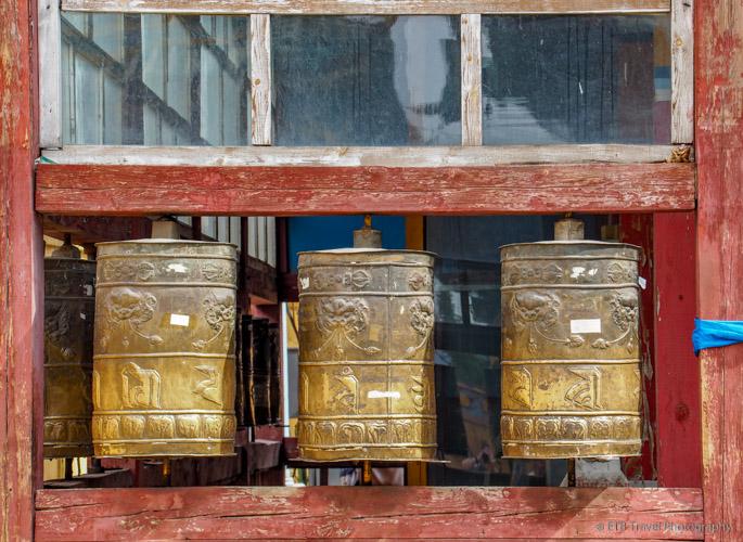 praryer wheels at Gandan Khiid in mongolia