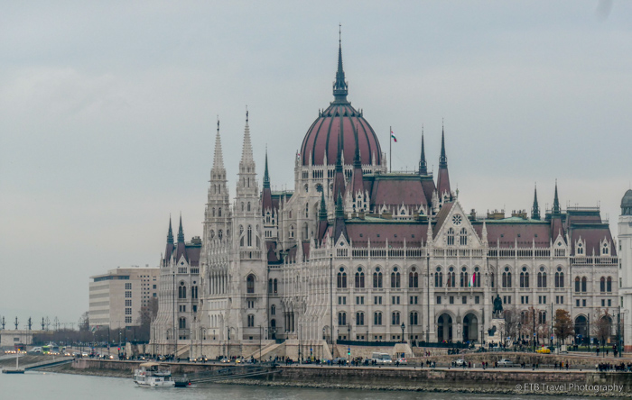 View of Parliament from Chain Bridge in Budapest