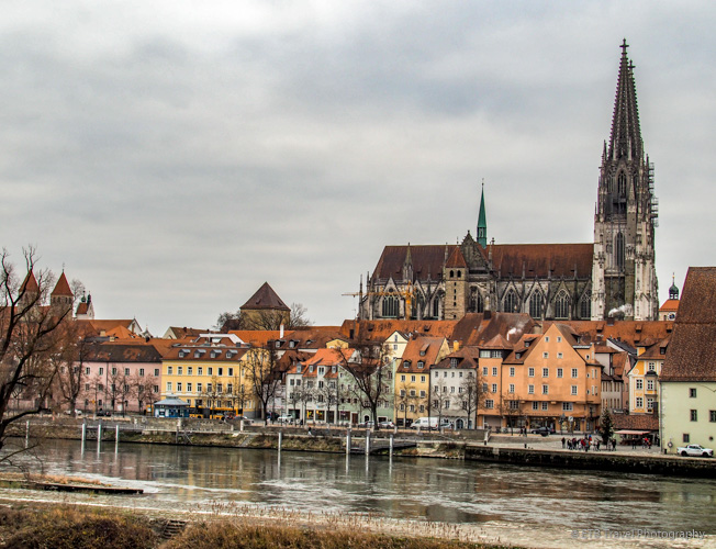 View of Old Town Regensburg from Stone Bridge