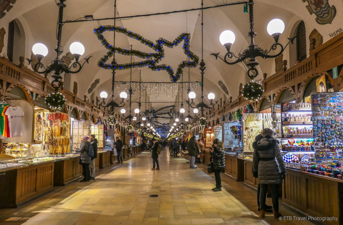 Inside Cloth Hall in Krakow's Old Town