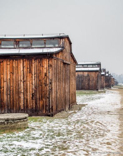 wooden barracks at Auschwitz