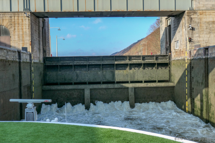 lock filling with water on Danube River Cruise