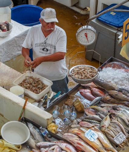 stall at the fish market at Panama City