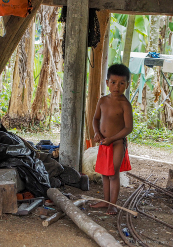 indian boy at village near panama city
