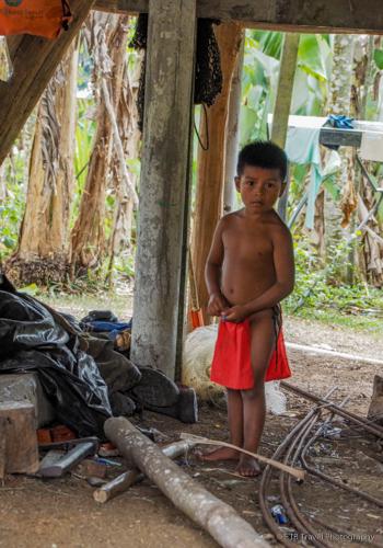 indian boy at village near panama city