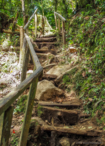 stairs down to the first waterfall on Three Waterfalls Trail