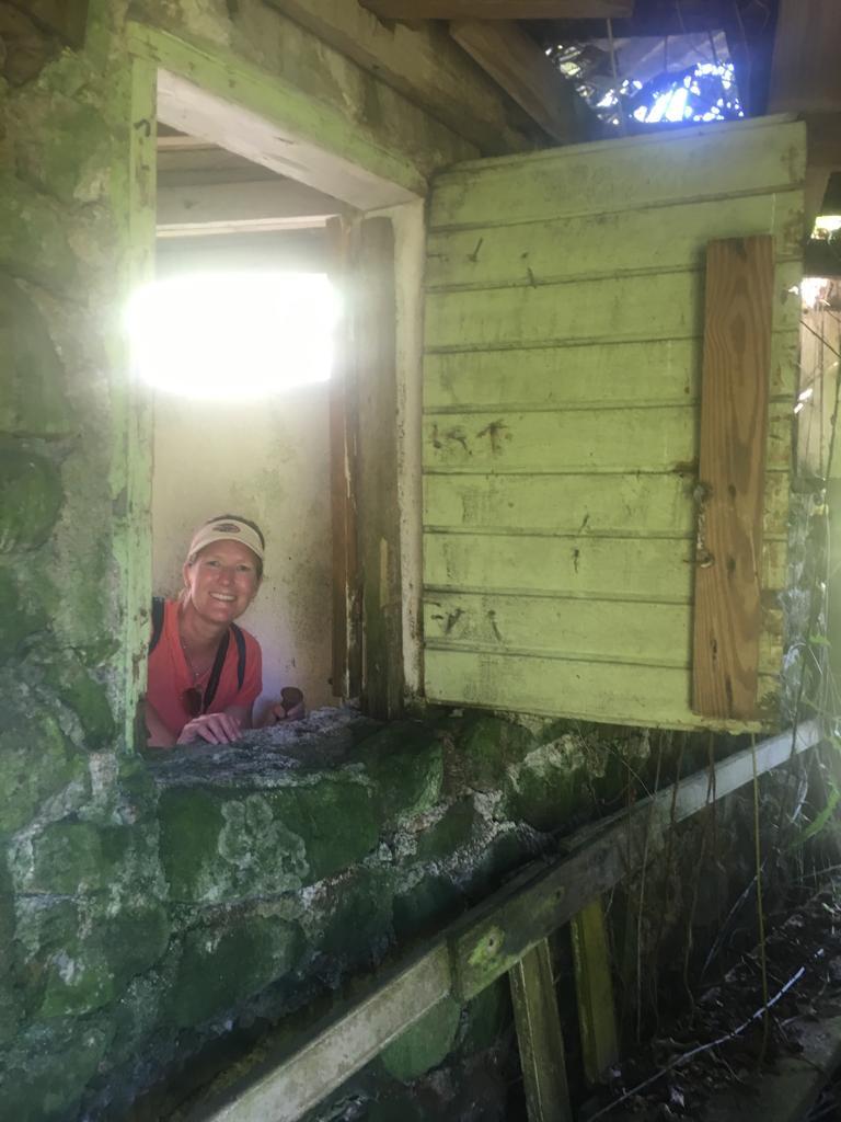 exploring abandoned house while hiking in saba