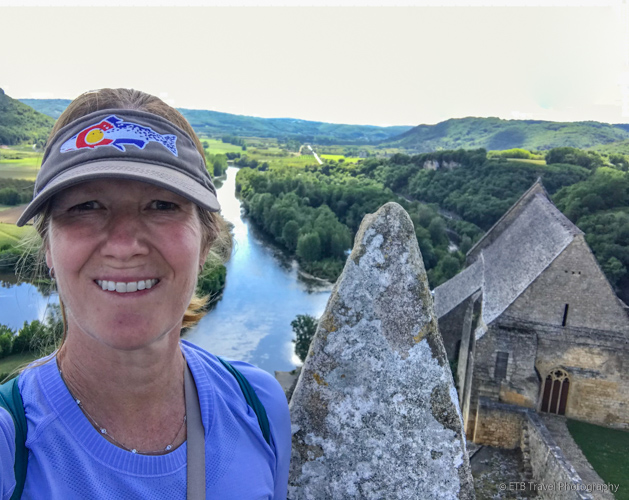 me at chateau de beynac and dordogne river below