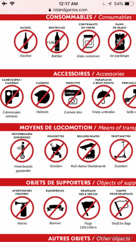 items not allowed in Roland-Garros
