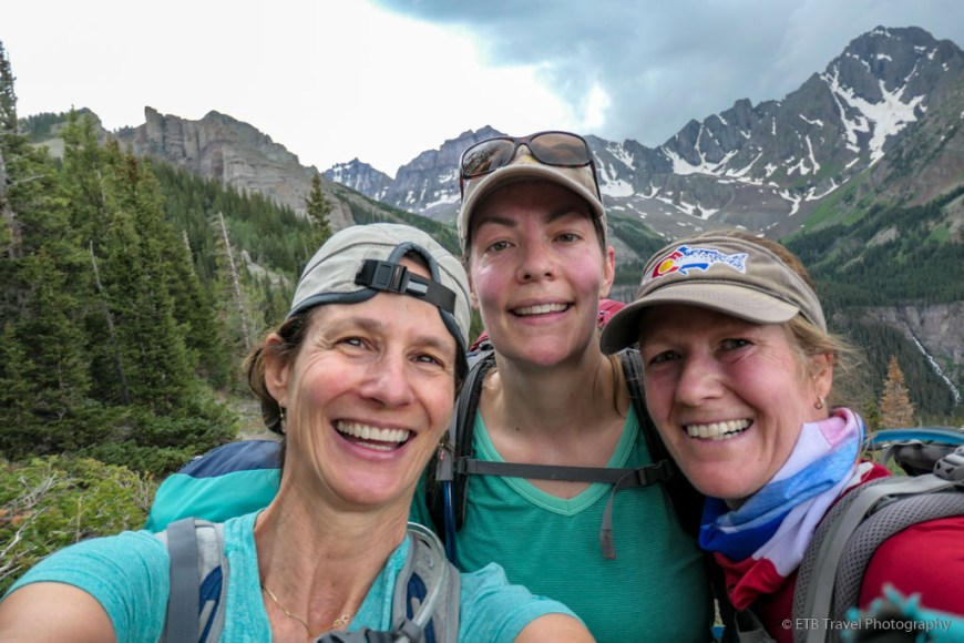 Tina, Diana, and Beth at Wilson summit view on the Sneffels Traverse