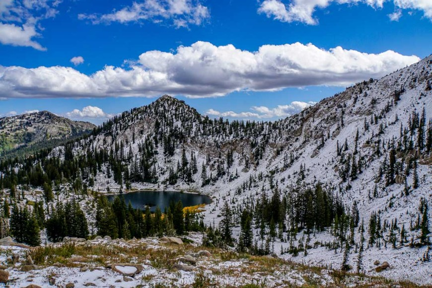 view of Lake Catherine from Little Cottonwood Canyon