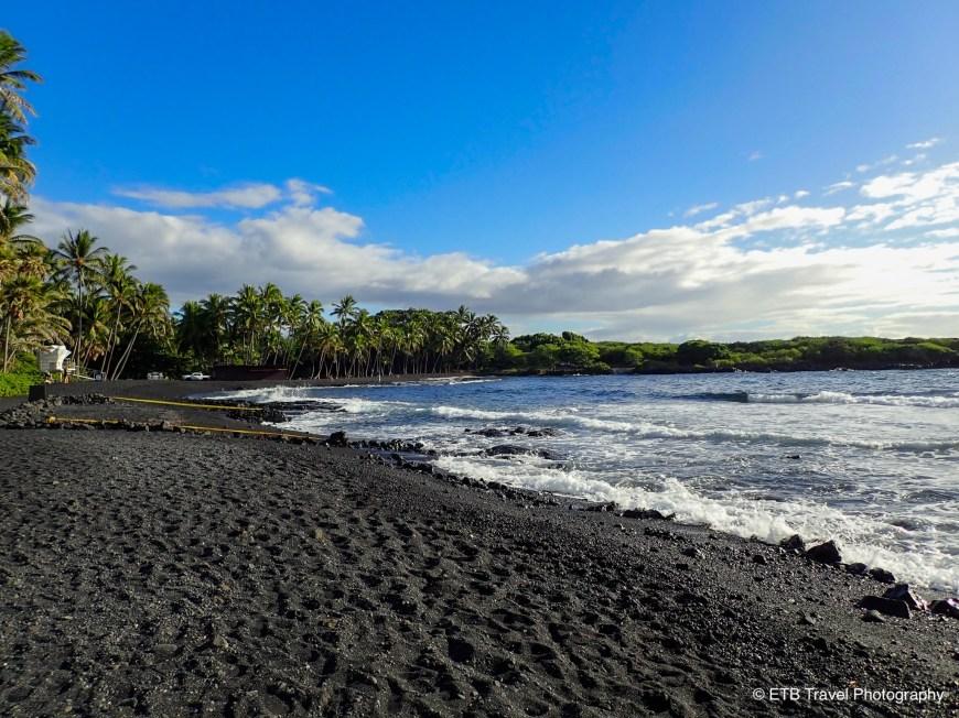 Punalu'u Black Sand Beach in the Ka'u  Coast
