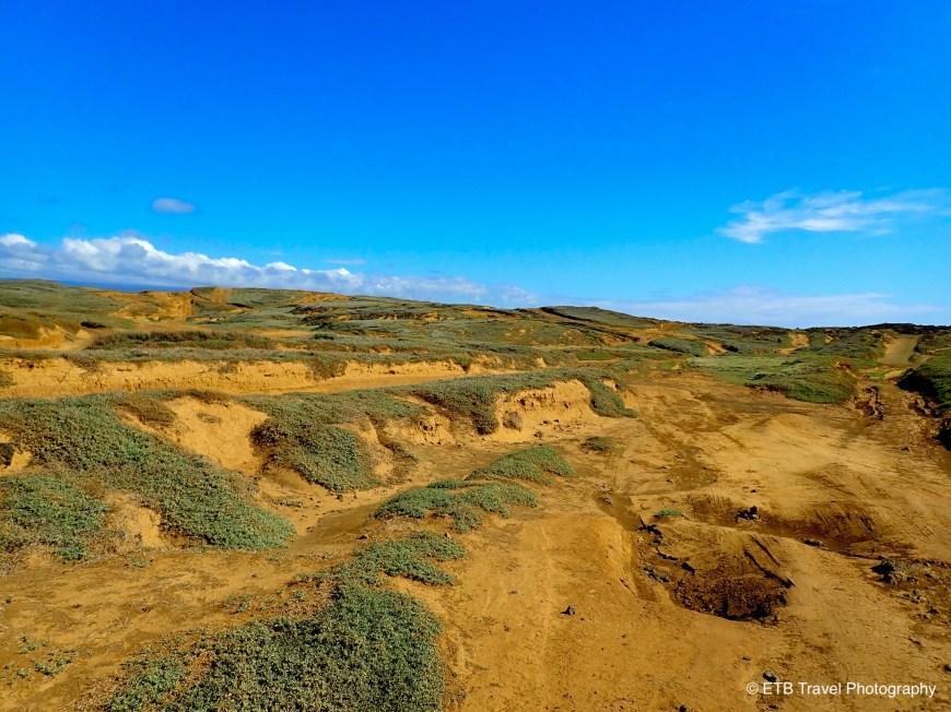 Zigzagging roads to Papakōlea Green Sand Beach on the Ka'u  Coast