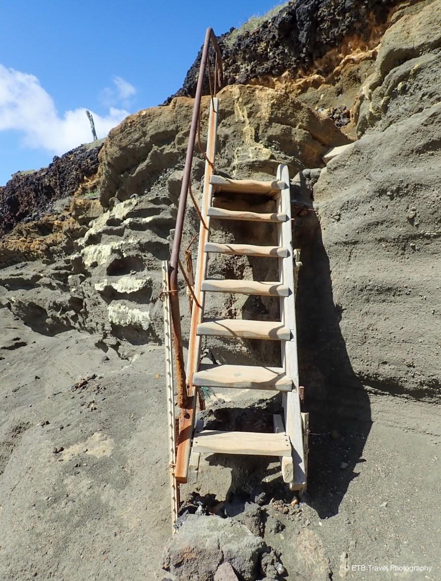 Ladder at Papakōlea  Green Sand Beach on the Ka'u  Coast