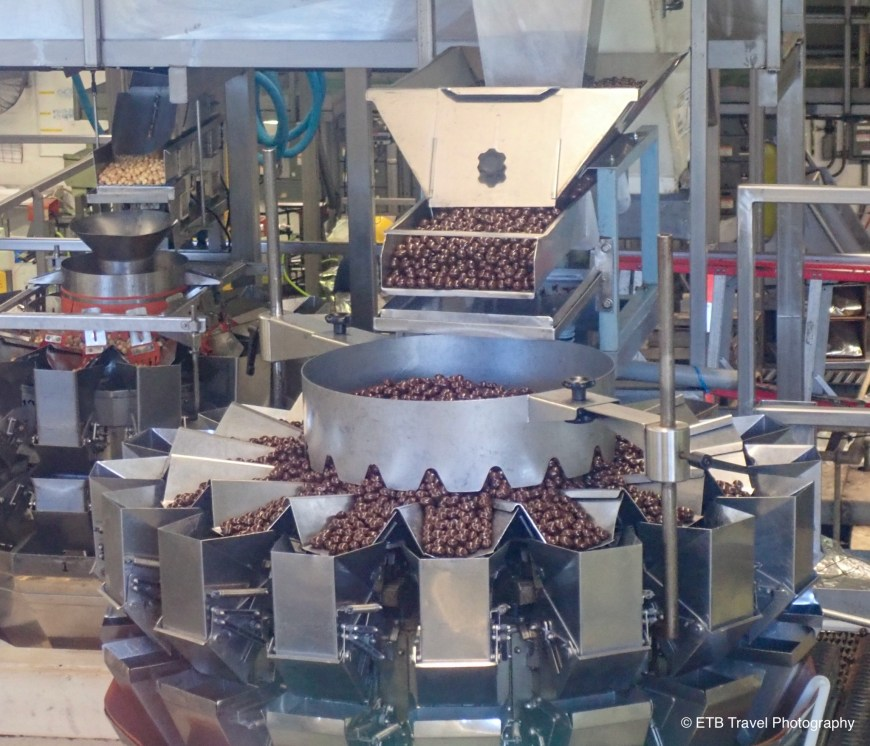 Machines full of macadamia nuts