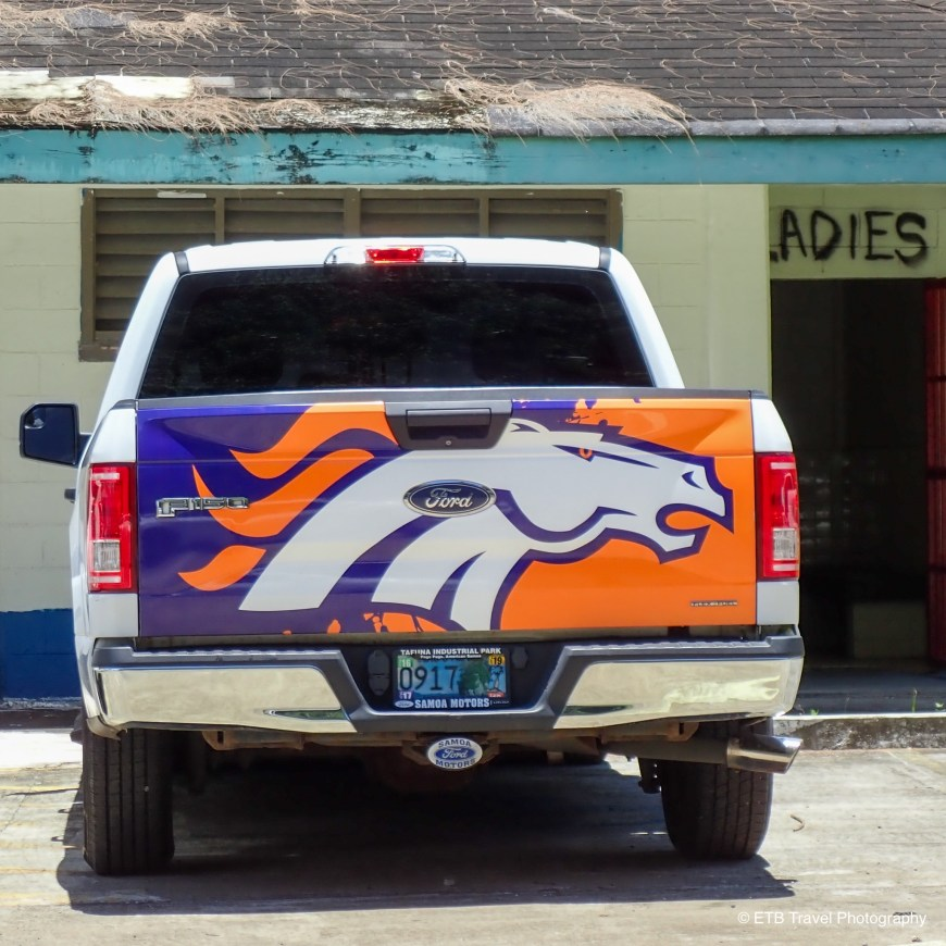 Truck with Broncos Tailgate