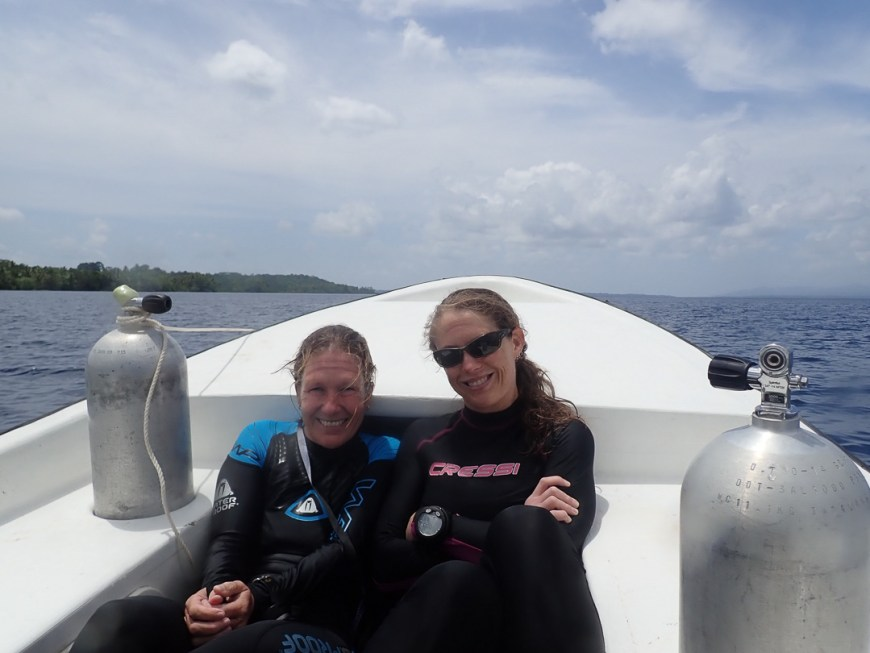 on the dive boat in munda
