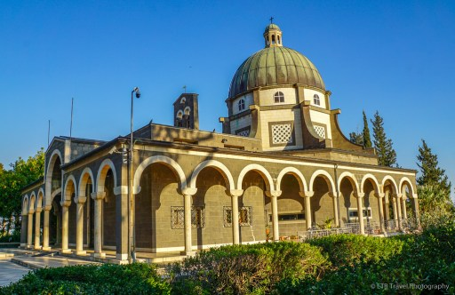 church on the mount of beatitudes near the sea of galilee