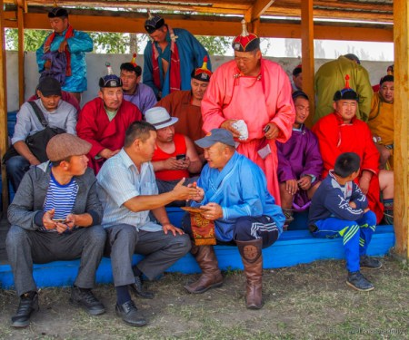wrestlers waiting to compete at naadam