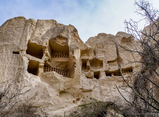 pigeon holes and windows on hike in Rose Valley cappadocia