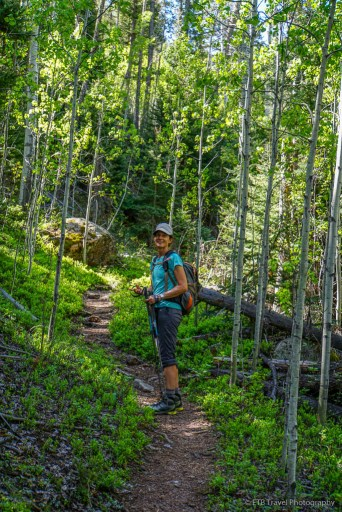 tina in the aspen on rolling creek trail