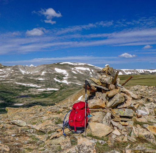 cairn and back pack on summit of pennsylvania mountain