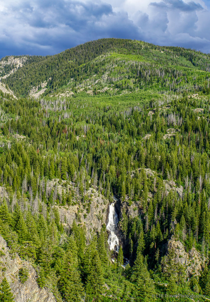 view of fish creek falls from uranium mine trail