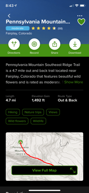 all trails screen shot for hiking 101 example