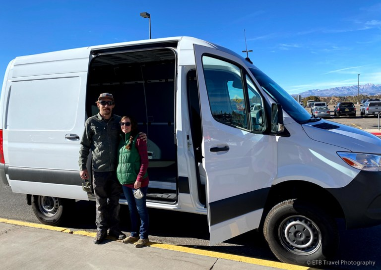 VANgo at Durango Airport with the owners of Wanderful Wheels, a camper van conversion company
