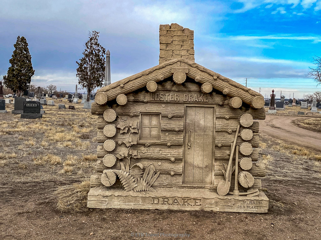 miniature cabin tombstone in Riverside Cemetery