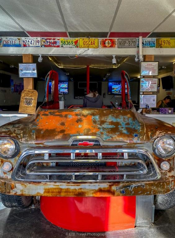classic car bar at Route 66 Junkyard Brewery