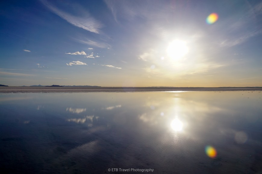 sun reflection at bonneville salt flats
