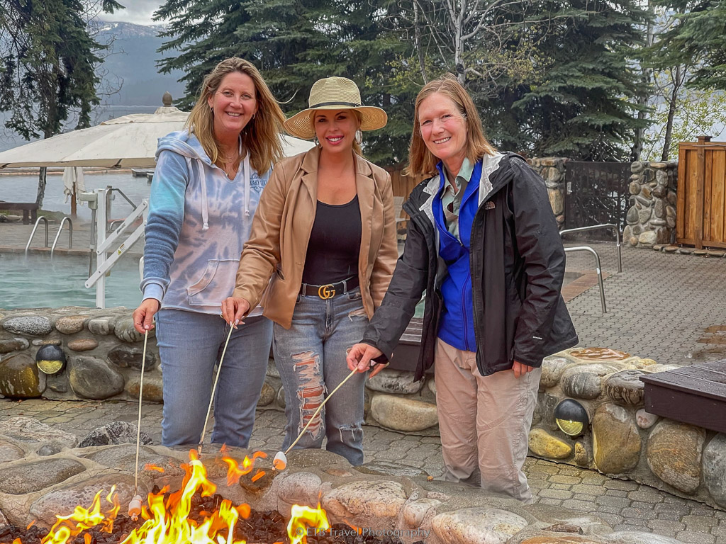 making s'mores at shore lodge in mccall