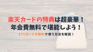 【楽天カードの特典が強烈】お得な楽天カードを使い倒そう!ETCカードを無料にする方法も解説