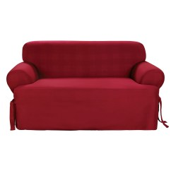 Sure Fit Cotton Duck Sofa Slipcover Craftmaster Prices T Cushion Claret Ebay