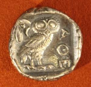 Athenian Silver Tetradrachm, 479-454 BCE. O: Athena. R: Owl and olive branch.