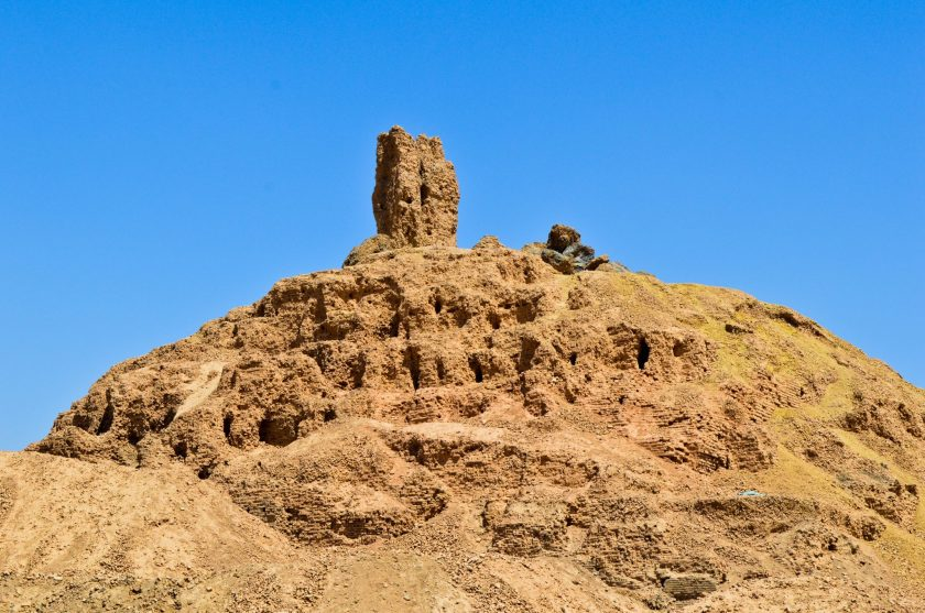 The ruins of the ziggurat and temple of Nabu at Borsippa. The hallmark of this place is the tongue tower on its peak. In 1902 CE, the German archeologist Robert Koldewey excavated the ziggurat.