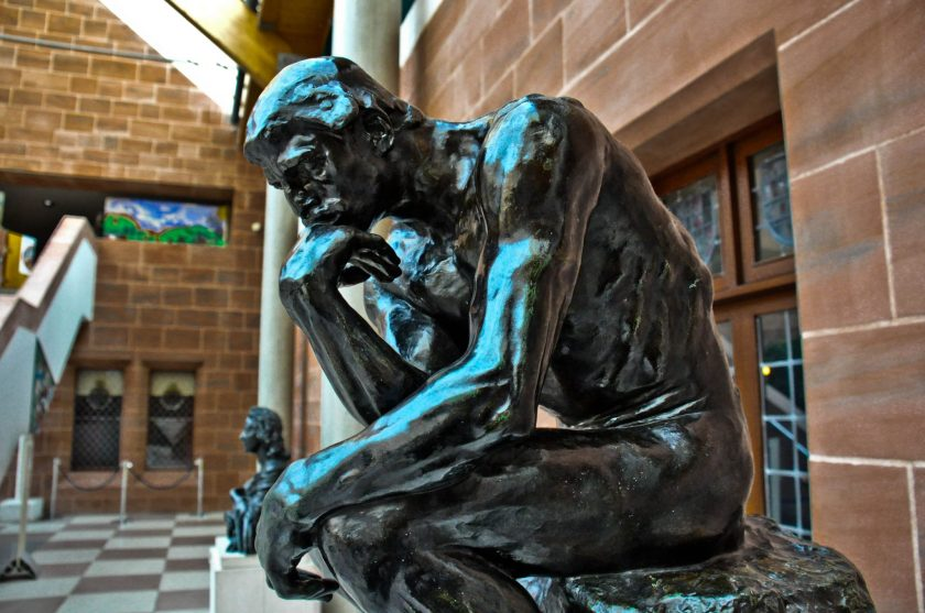 The Thinker Statue. This monumental bronze statue was made by Auguste Rodin (18040-1917 CE) in 1880 CE. This is one of 28 castings found world-wide.