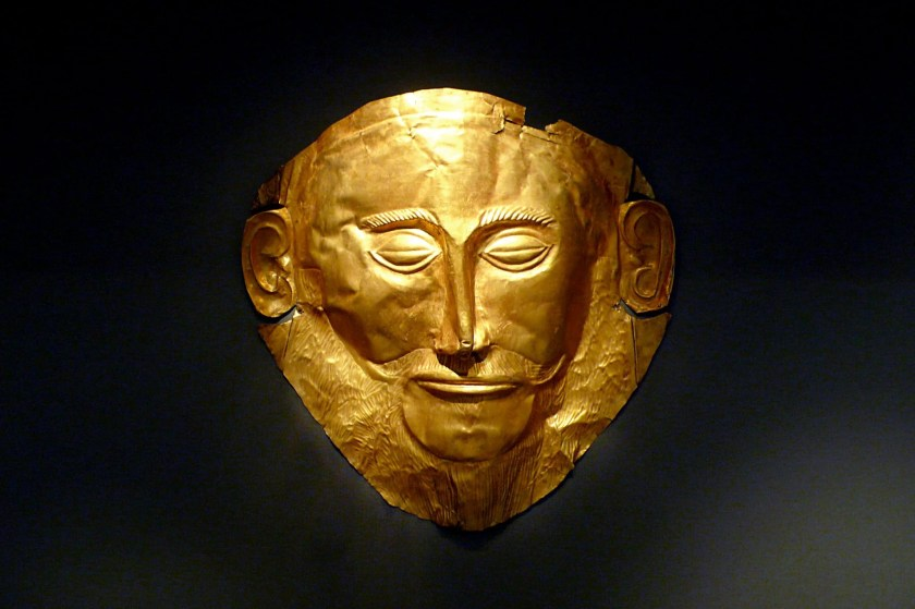The so-called death mask of Agamemnon - the king of Mycenae in Homer's Iliad. Gold funeral mask from Grave Circle A, Mycenae (mid-16th century BCE). The mask in fact predates Agamemnon by 400 years but nevertheless remains solid evidence of Homer's description of Mycenae as 'rich in gold'. (National Archaeological Museum, Athens).