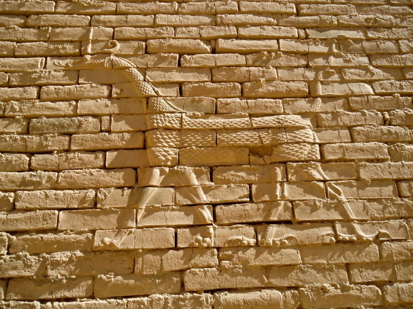 A close-up view of a Sirrush (Mušḫuššu) on a wall at the Processional Street of Babylon. The ones that are present at the Pergamon Museum in Berlin were made with glazed-bricks.