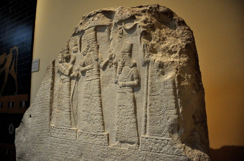 Limestone stela of Shamash-res-usur (governor of Mari and Suhi). He is praying in front of the gods. From the palace museum at Babylon, modern day Babel Governorate, Iraq. 8th century BCE.