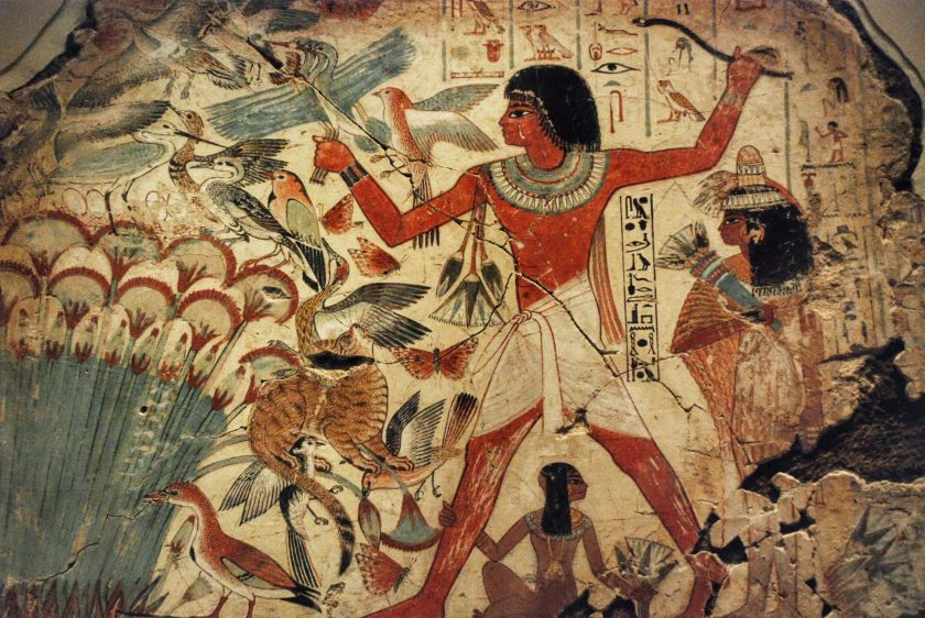 Standing on a small boat, Nebamun hunting in the marshes. His wife and their daughter have come along for the ride. Like many cultures, the Egyptians hoped to enjoy life and see beauty in the afterlife.