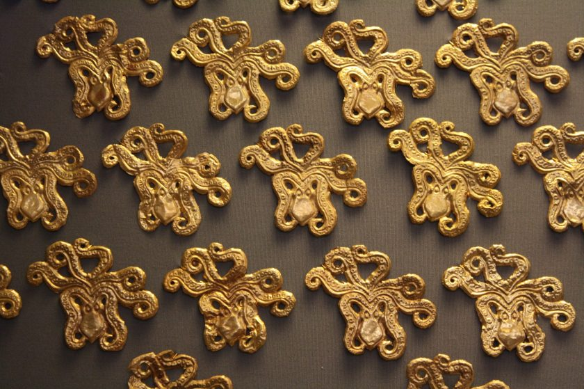 Gold cut-out octopuses, probably for textile decoration. Mycenae, 16th century BCE.