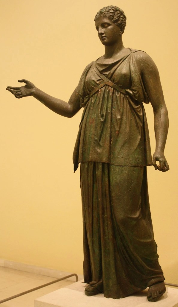 The bronze Artemis attributed to Euphranor, mid-4th century BCE. National Archaeological Museum, Athens.