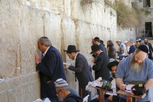 Devout Jews worship at the Western Wall in Jerusalem — all that is left of the Second Temple destroyed by the Romans in A.D. 70. (photo: Rick Steves)