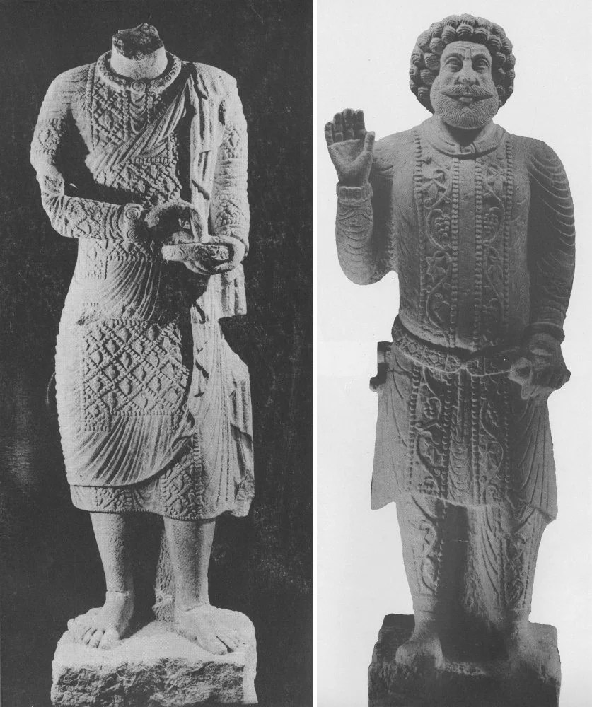 Statues seen at 0:40 and 2:43 of the video. From Safar and Mustafa, Hatra: The City of the Sun God, pl. 19, pl. 199, pp. 75, 212.