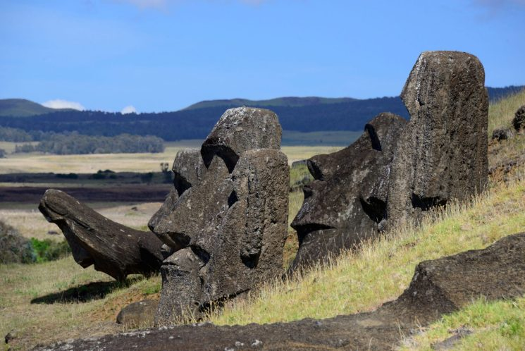 <em>Moai</em> at Rano Raraku, Easter Island, Chile. Adam Stanford @Aerial-Cam for RNLOC. (Courtesy of Manchester Museum.)