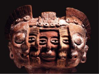 This ceramic fragment with three faces shows the three phases of existence. In the centre is youth, opening his eyes to the world. Next is old age. Finally comes death, with closed eyes. University Museum of science and arts, UNAM. National Council for Culture and Arts – INAH.