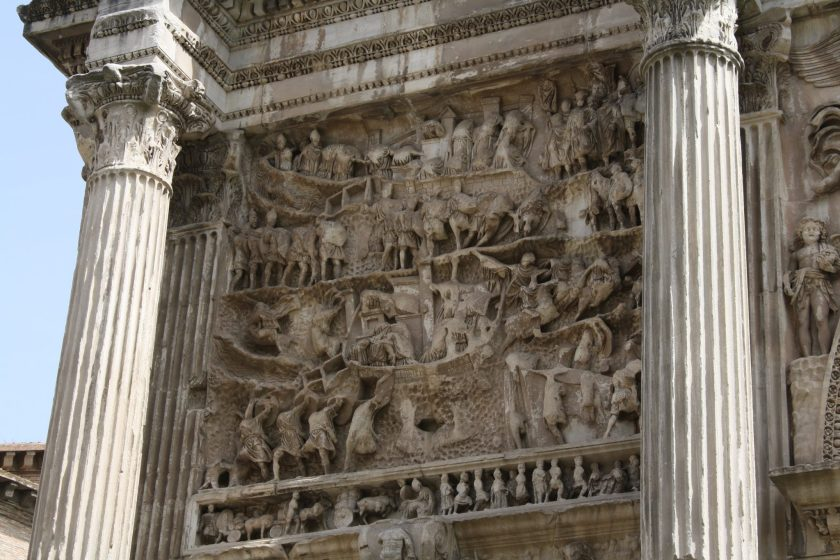 The panels, two on each façade, depict battle scenes, seiges, prisoners, and the emperor addressing his troops during his campaigns in Parthia in the last decade of the 2nd century CE.