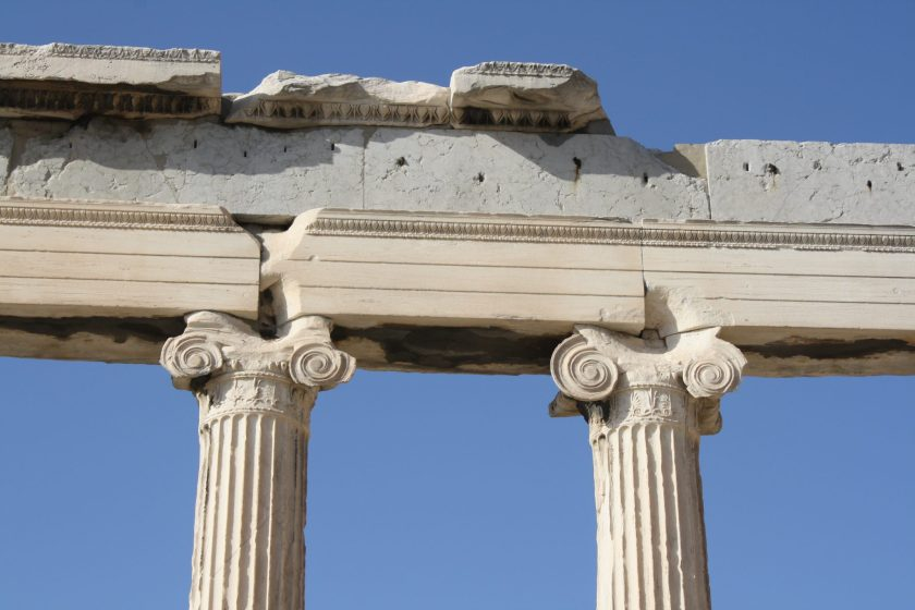 A detail of two Ionic capitals of the front facade of the Erechtheion.